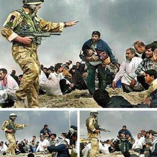 Апрель, 2003… Эта фотография была создана из двух фотографий, которые вы видите под ней. За подделку фотографии английского солдата в Басре фотограф с 30-летним стажем был уволен из Los Angeles Times …